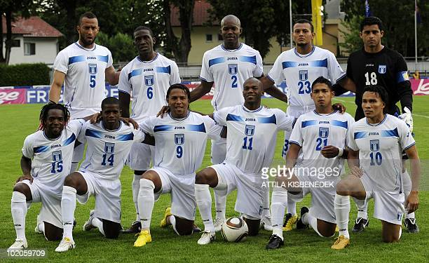 This picture taken on May 27 2010 shows Honduras' players Walter Martinez Oscar Garcia Carlos Pavon Oscar Suazo Emilio Izaguirre and Julio Leon...