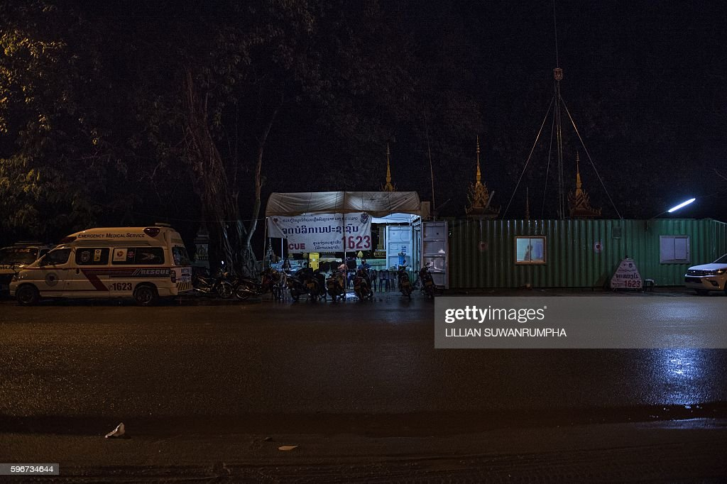 This picture taken on May 29 2016 shows one of the Vientiane Rescue volunteer outposts consisting of a metal shipping container in Vientiane Laos...