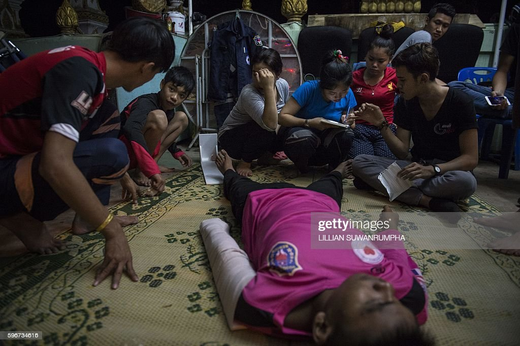 This picture taken on May 29 2016 shows Vientiane Rescue volunteers practising emergency drills in Vientiane Laos Founded in 2010 by a group of...