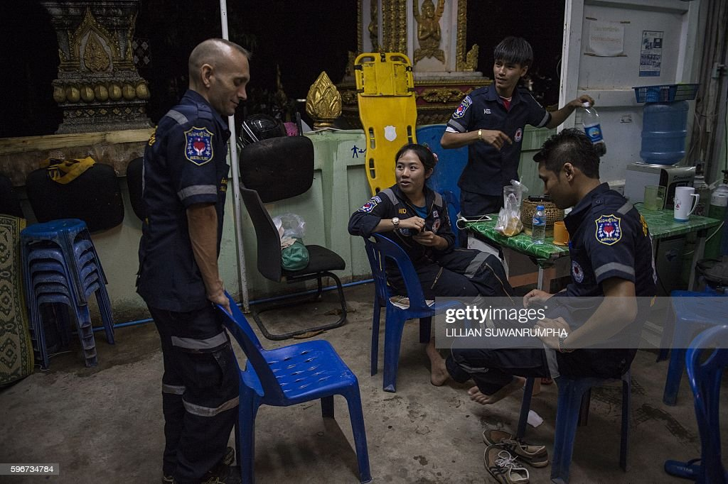 This picture taken on May 30 2016 shows Vientiane Rescue volunteers waiting in between rescue missions at one of their outposts in Vientiane Laos...