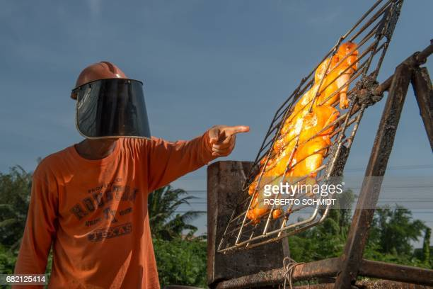 This picture taken on May 4 2017 shows food vendor Sila Sutharat pointing to chickens being cooked by rays of sun reflected onto an oversized mirror...