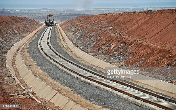 This picture taken on May 5 2015 shows work in progress on the new railway tracks linking Djibouti with Addis Ababa The leaders of Djibouti and...