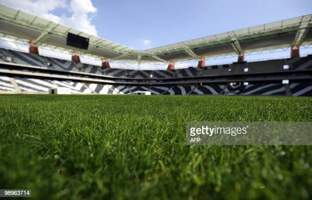 This picture taken on May 7 2010 shows the grass on the pitch of Mbombela stadium in Nelspruit The Mbombela stadium is one of the 10 stadiums in...