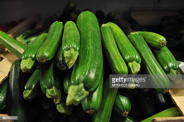 This picture taken on November 12 2008 in HerouvillestClair Normandy of small courgettes as EU nations gave today the green light for bent cucumbers...