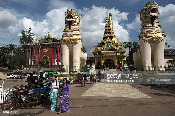 This picture taken on November 14 2012 shows the front entrance of the Shwe Mawdaw Pagoda in Bago Myanmar's government has said it 'warmly welcomes'...