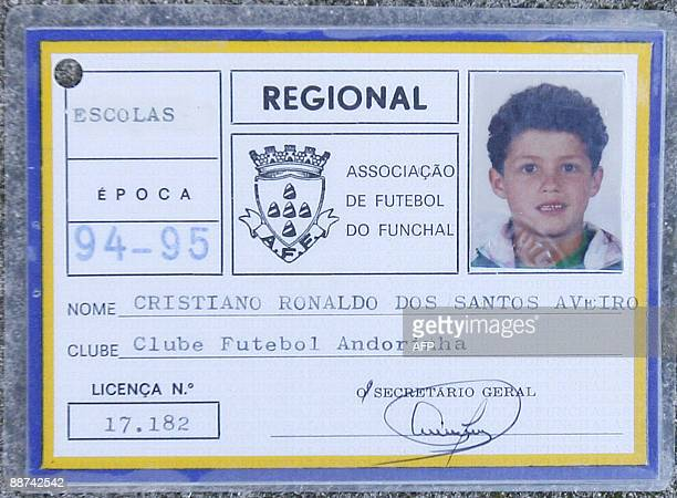 This picture taken on November 16 2008 shows the ID card of local football association in Funchal of Portuguese footballer Cristiano Ronaldo provided...