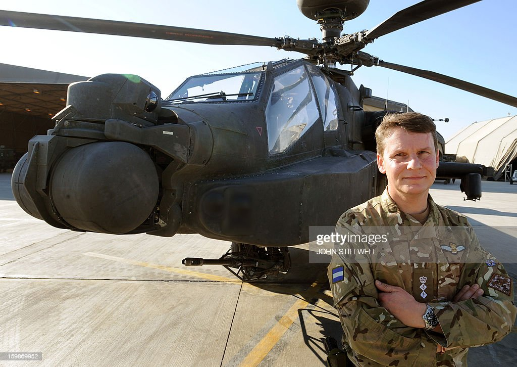 This picture taken on November 2, 2012 shows Colonel Neil Sexton, the Commander of the Joint Aviation Group (JAG), at the British controlled flight-line in Camp Bastion southern Afghanistan, overall Commander of Britain's Prince Harry who was serving as an Apache helicopter pilot/gunner with 662 Sqd Army Air Corps from September 2012 to January 2013.