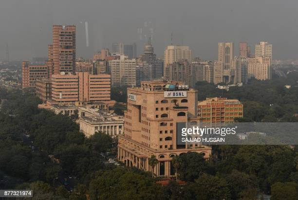 This picture taken on November 21 shows an aerial view of New Delhi's central district HUSSAIN
