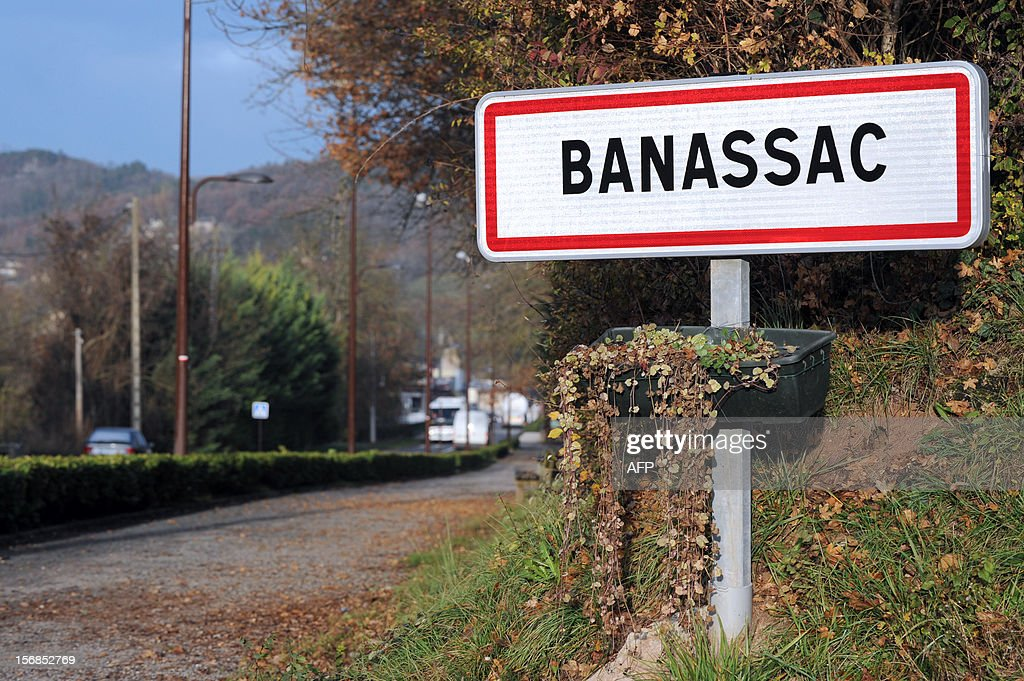 This picture taken on November 23, 2012 shows the plaque at the entrance of the village of Banassac, southern France. The Movement for Oneness and Jihad in West Africa (MUJAO), one of the Islamist groups occupying northern Mali on November 22 claimed responsibility for the kidnapping of 61-year old Gilberto Rodriguez Leal, who was born in Portugal but is a French citizen, living in Le Segala quarter of Banassac. Gilberto Rodigriguez Leal was travelling from Mauritania to Mali with his camping car when he was kidnapped.