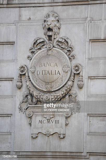 This picture taken on November 25 2011 shows a detail on the offices of the Bank of Italy in Milan The Bank of Italy was forced to pay recordhigh...