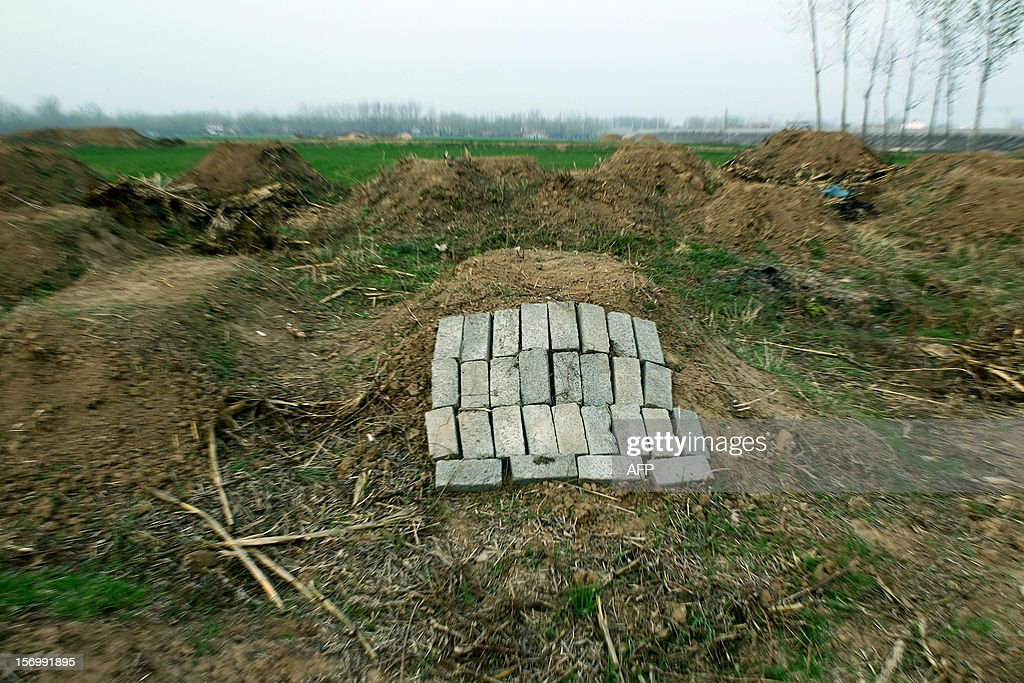 This picture taken on November 25, 2012 shows a group of grave sites waiting to be demolished during the 'flatten graves to return farmland' campaign in Zhoukou, central China's Henan province. Zhoukou has halted a campaign to clear graves for farmland after the demolition of more than two million tombs sparked outrage in a country where ancestors are traditionally held in deep respect. CHINA OUT AFP PHOTO