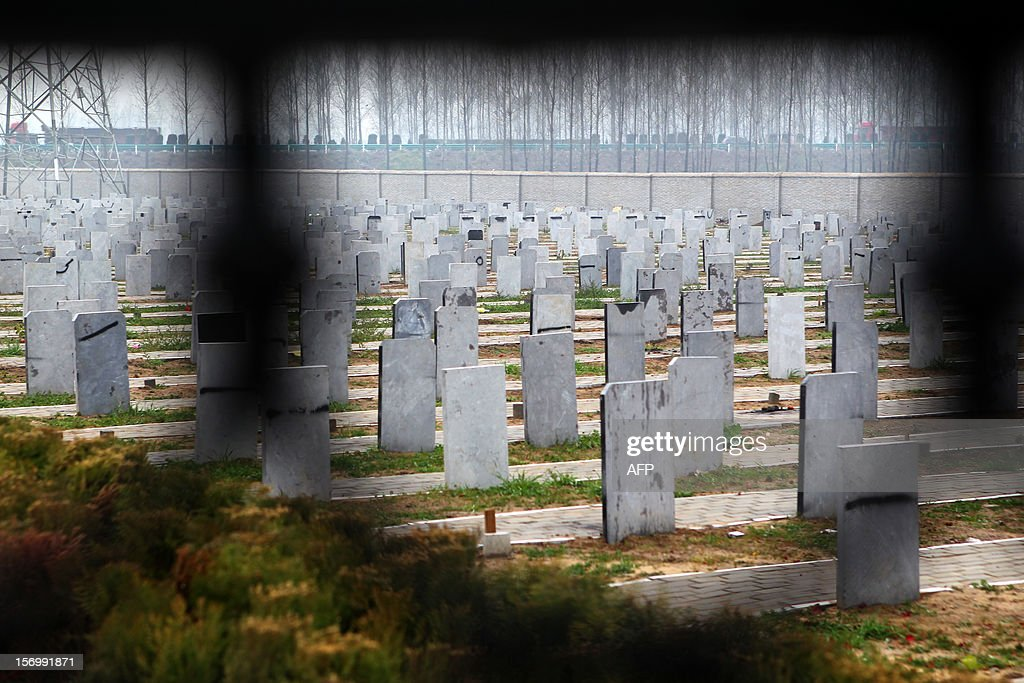 This picture taken on November 25, 2012 shows tombstones at a public cemetery that was built for the 'flatten graves to return farmland' campaign in suburb Zhoukou, central China's Henan province. Zhoukou has halted a campaign to clear graves for farmland after the demolition of more than two million tombs sparked outrage in a country where ancestors are traditionally held in deep respect. CHINA