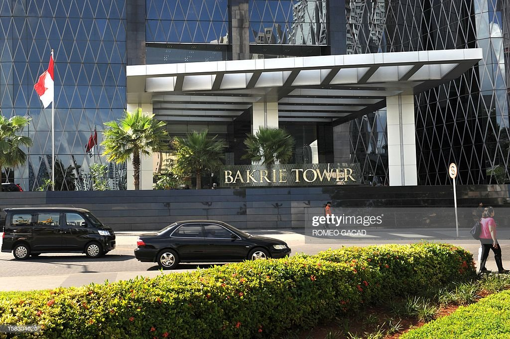 This picture taken on November 27, 2012 shows the facade of the high-rise Bakrie Tower housing the headquarters of Bumi Resources located in the sprawling urban property owned by the Bakrie family in Jakarta. Coal miner Bumi Plc said on December 13 it will likely to side with Indonesia's powerful Bakrie family in a tussle with British tycoon Nathaniel Rothschild for control of the country's lucrative mines.