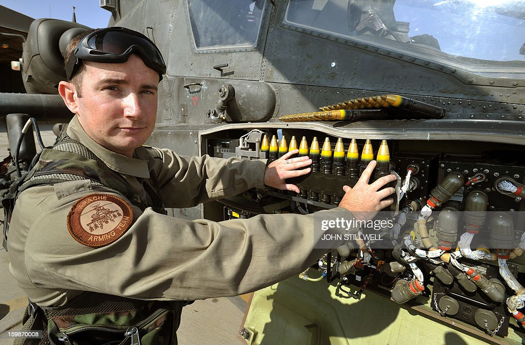 This picture taken on November 3, 2012 shows Corporal Graham Carr arming loading point commander (ALPC) of 662 Squadron, 3 Reg Army Air Corps, loading the Apache helicopter to be flown by Britain's Prince Harry , who was serving as an Apache helicopter pilot/gunner, with rounds for the 30mm cannon at the British controlled flight-line at Camp Bastion in Afghanistan's Helmand Province.