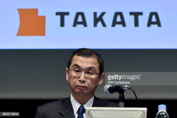This picture taken on November 4 2015 shows Japan's Takata Corp Chairman and CEO Shigehisa Takada at a press conference in Tokyo Shares in embattled...