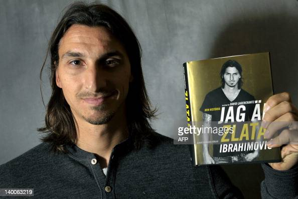 This picture taken on November 8 2011 and made available today shows AC Milan's and Sweden's football player Zlatan Ibrahimovic presenting his book...