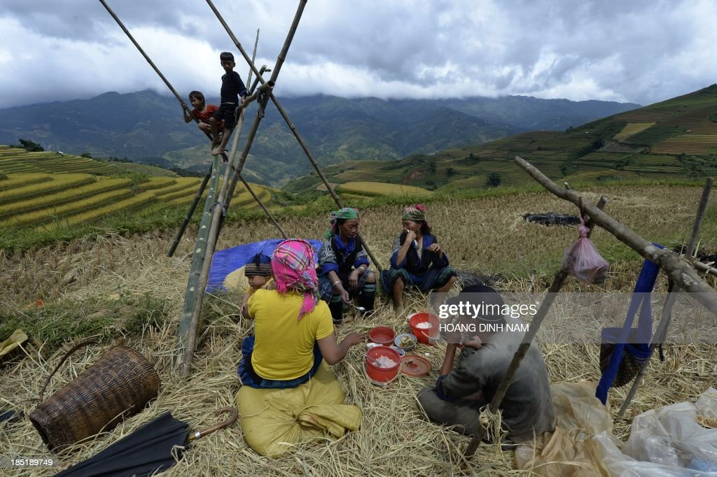This picture taken on October 1, 2013 shows a Hmong ethnic hilltribe family having lunch during a rice harvesting on a terrace rice field in Mu Cang Chai district, in the northern mountainous province of Yen Bai. The local residents, mostly from the Hmong hill tribe, grow rice in the picturesque terrace fields whose age is estimated to hundreds years. Due to hard farming conditions, especially irrigation works, locals produce only one rice crop per year. In recent years a growing numbers of tourists have been attracted by the beautiful landscapes created by the region's rice terrace fields. AFP PHOTO/HOANG DINH Nam