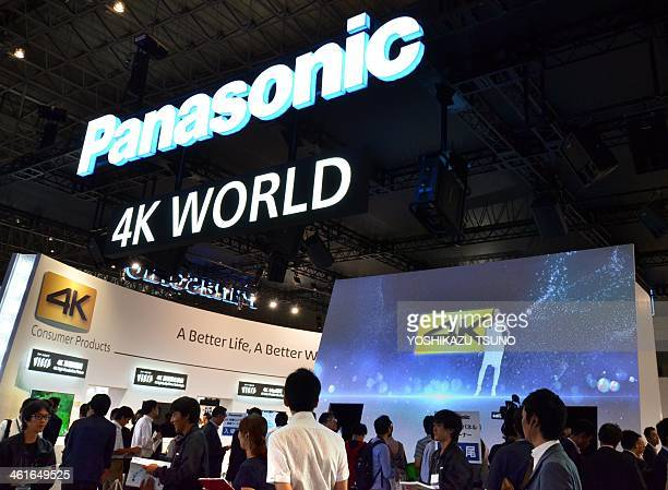 This picture taken on October 1 2013 shows Japanese electronics giant Panasonic's '4K' television set which has 3840 x 2160 pixels and four times the...
