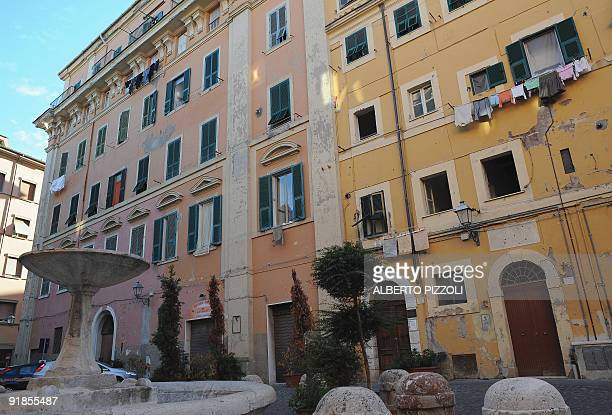 This picture taken on October 13 2009 shows the Manzi Palazzo in Civitavecchia near Rome where frescos were found on walls of a bedroom The frescos...