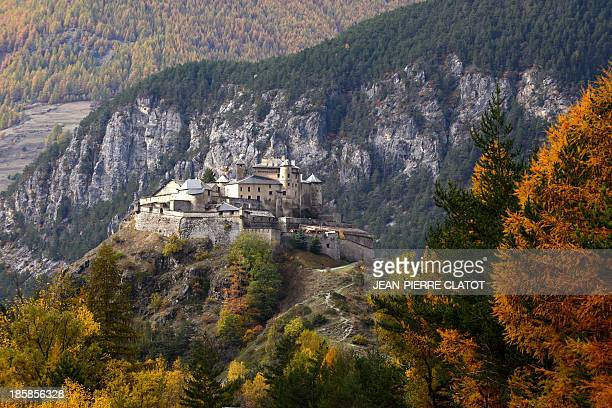 This picture taken on October 25 2013 shows the Queyras castle near the village of ChâteauVilleVieille in the regional park of Queyras in the French...