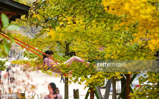 This picture taken on October 25 2015 shows a girl playing on a swing surrounded by autumn trees in Beijing CHINA OUT AFP PHOTO