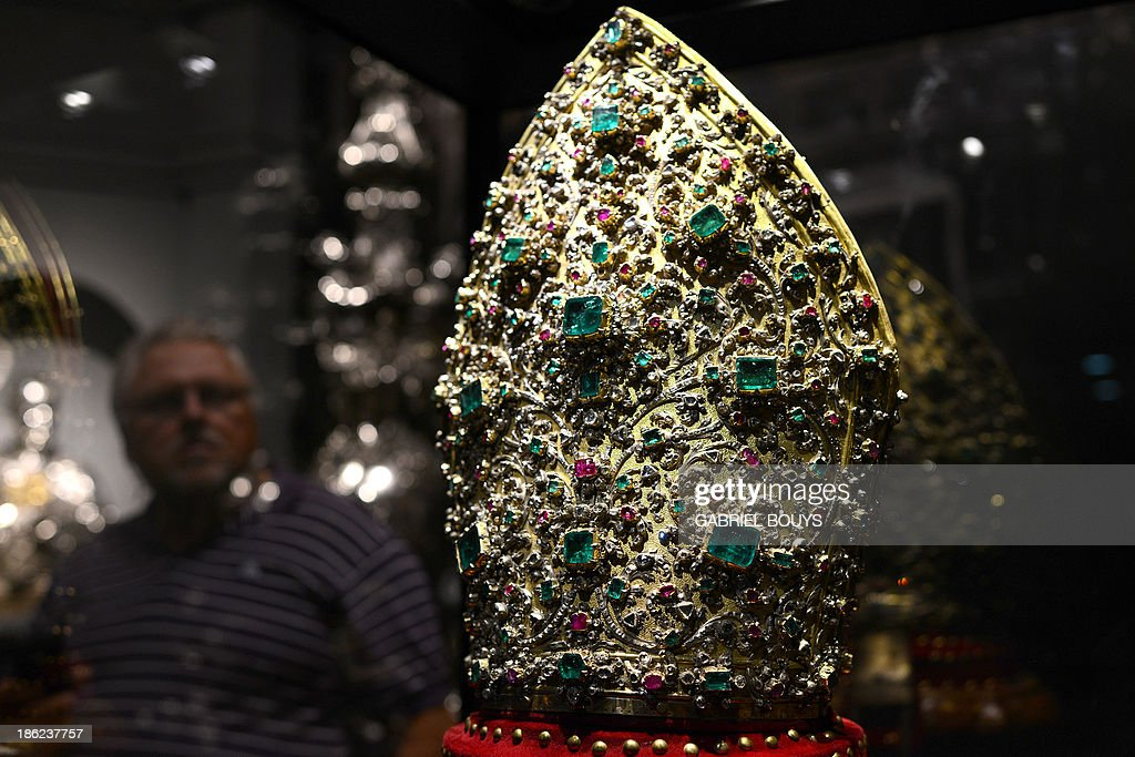 This picture taken on October 29 2013 shows a bishop's Mitre in gilded silver encrusted with 3326 diamonds 164 rubies 198 emeralds and 2 garnets...