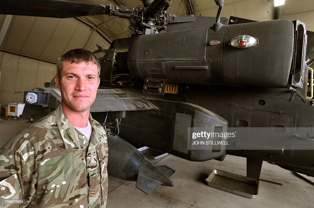 This picture taken on October 31, 2012 shows Staff Sgt Ben Wasteney of REME (Royal Electrical and Mechanical Engineers) at the British controlled flight-line at Camp Bastion in Afghanistan's Helmand Province.