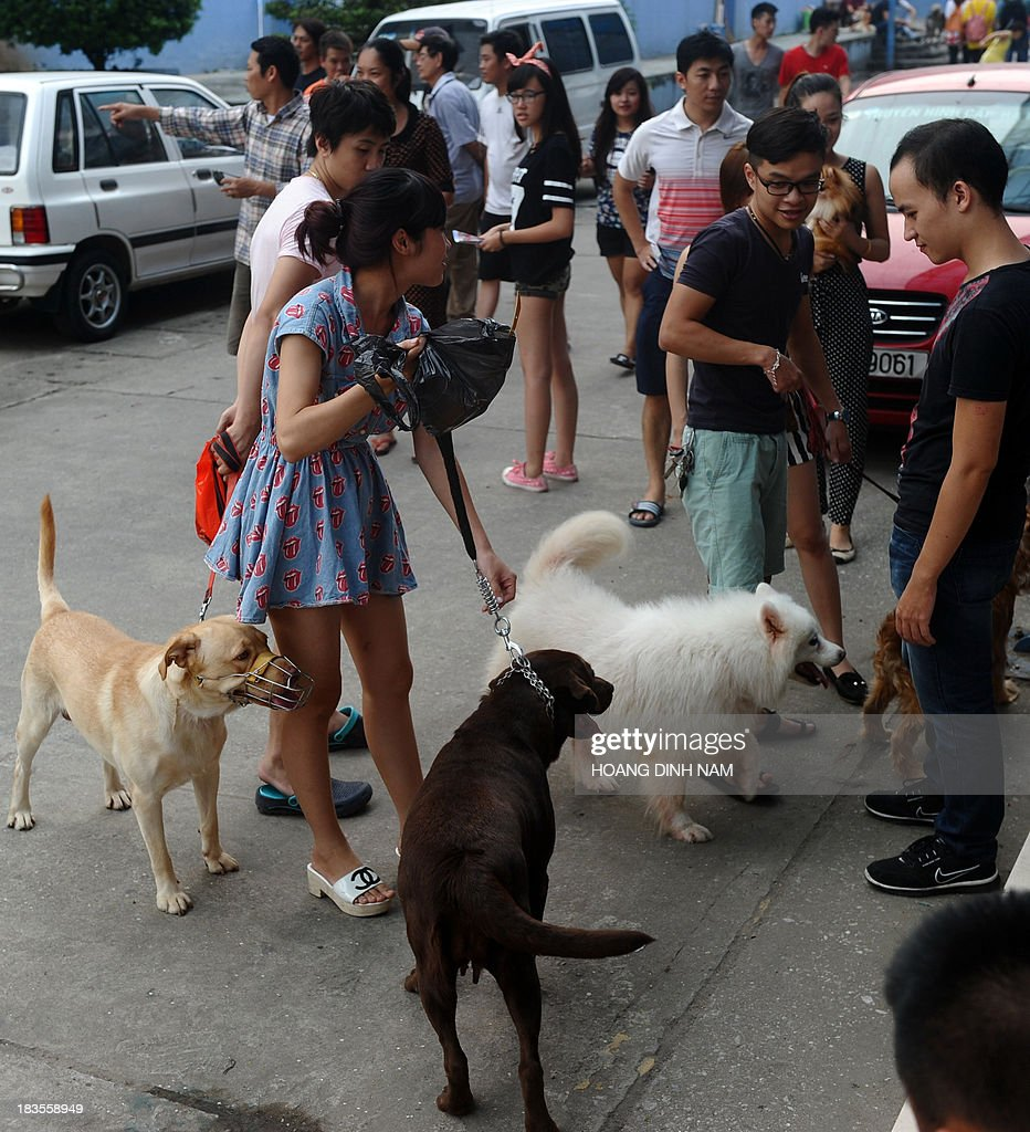 This picture taken on October 5, 2013 shows people with their pet dogs at a dog show in Hanoi. Pet ownership in Vietnam has soared over the last 20 years as the middle class swelled since the Southeast Asian communist nation switched to a market economy in the early 1990s.
