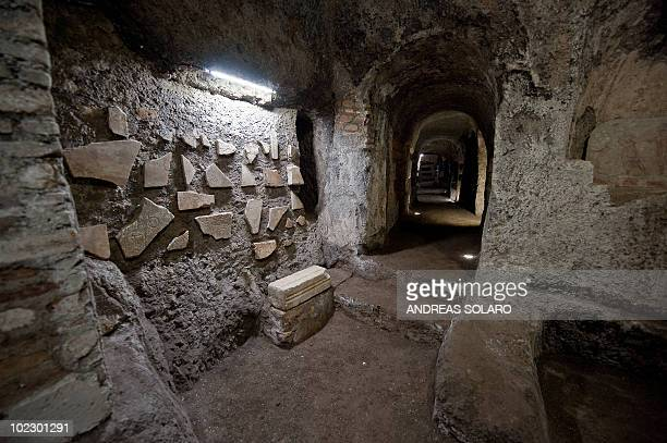 This picture taken on on June 22 2010 shows a general view of the newly restored part of Roman catacombs of Santa Tecla in Rome Some of the oldest...