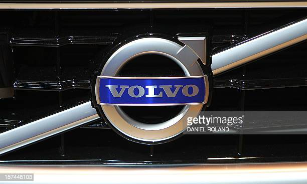 This picture taken on September 14 2011 shows the logo of carmaker Volvo during the international motor show IAA in Frankfurt/M western Germany Volvo...