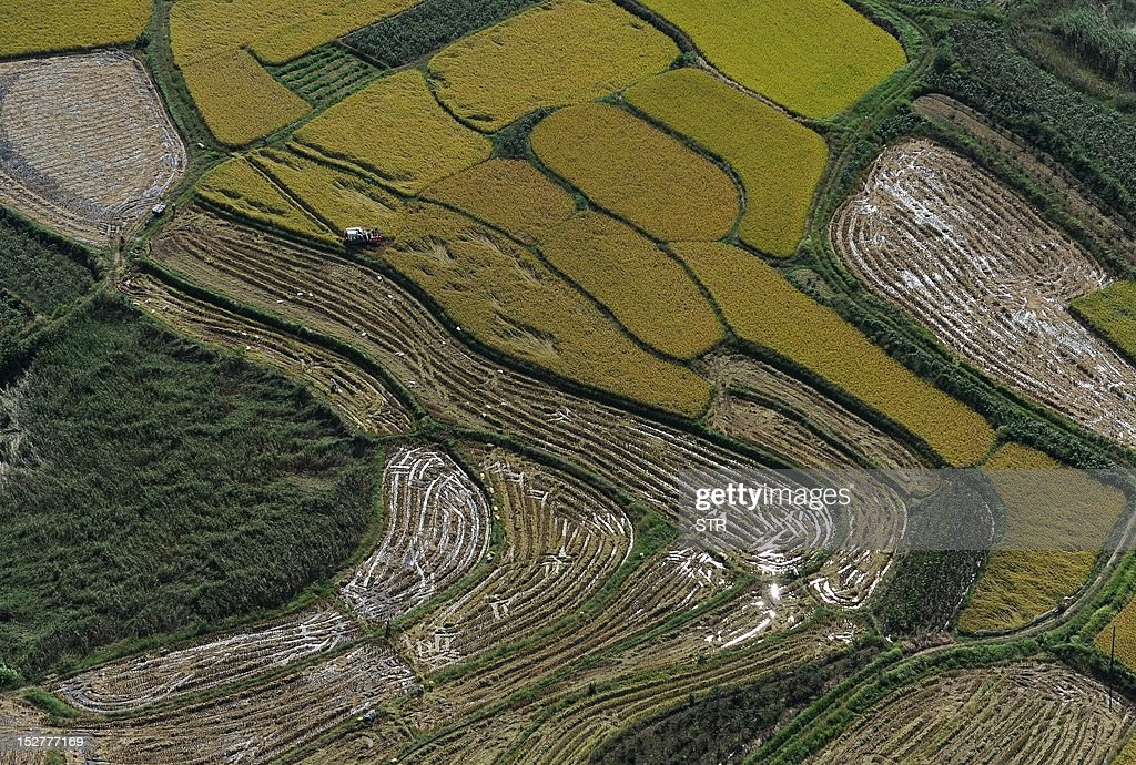 This picture taken on September 15, 2012, shows an aerial view of the countryside near the city of Hefei, in central China's Anhui province. Chinese Premier Wen Jiabao hinted on September 11 at new stimulus measures to boost flagging growth, while vigorously defending his decade in charge of the world's second-largest economy as Beijing approaches a sensitive leadership transition. CHINA OUT AFP PHOTO