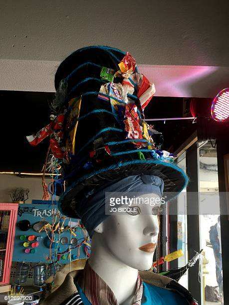 This picture taken on September 16 2016 shows a hat created from articles found during a beach treasure hunt organised by Dutch environmentalist and...