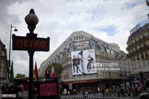This picture taken on September 17 2015 shows a general view of the main branch of the Galeries Lafayette store in Paris featuring the stores new...