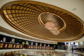 This picture taken on September 19 2012 shows the sign of the lobby of the new Sheraton Hotel in Cotai in Macau Las Vegas casino boss Sheldon Adelson...