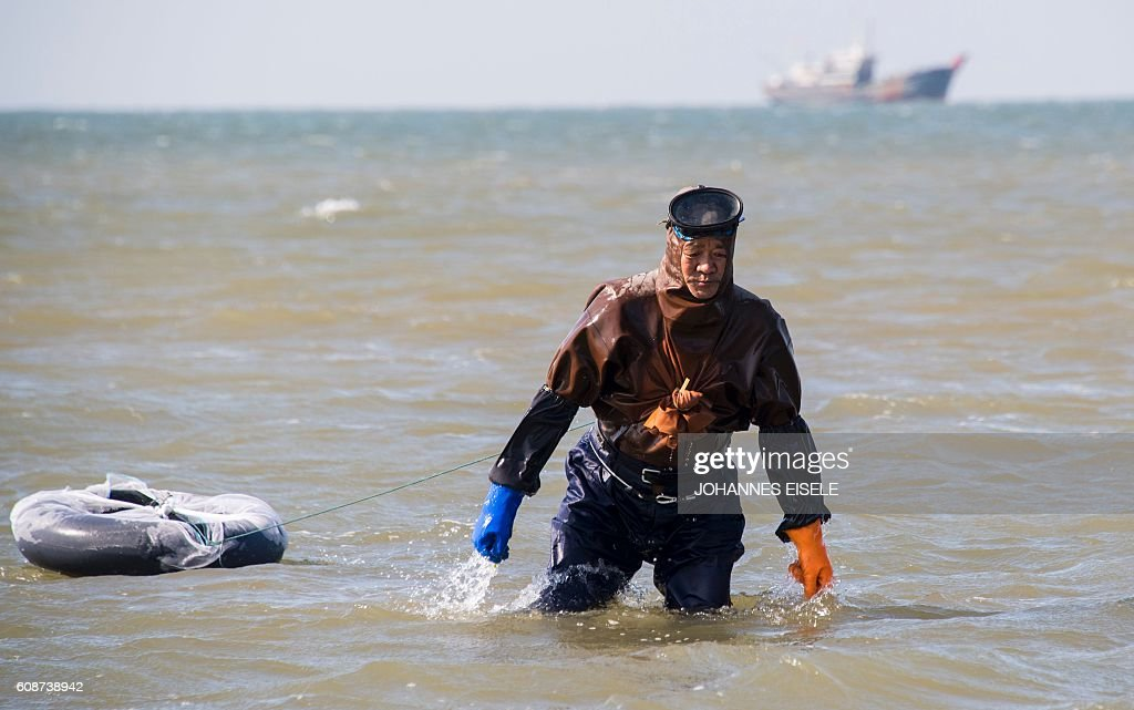 This picture taken on September 19, 2016 shows a man in a simple diving suit wading in the sea in Xianrendao in China's northeastern Liaoning province. / AFP / JOHANNES