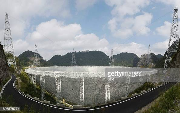 This picture taken on September 24 2016 shows the Fivehundredmetre Aperture Spherical Radio Telescope in Pingtang in southwestern China's Guizhou...