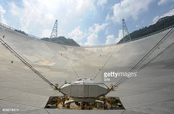 This picture taken on September 24 2016 shows workers at the center of the Fivehundredmetre Aperture Spherical Radio Telescope in Pingtang in...