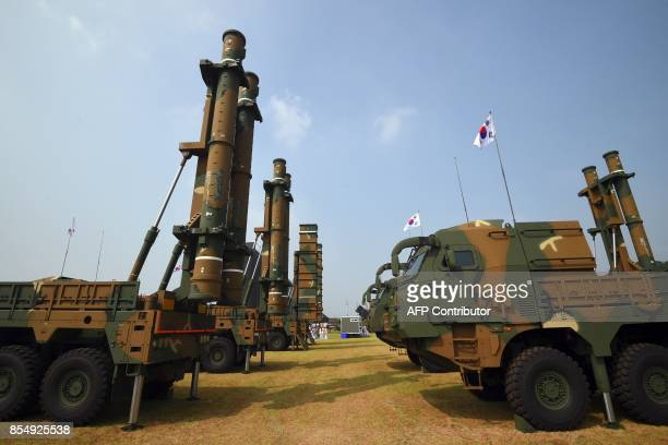 This picture taken on September 25 2017 shows a Hyunmoo3 cruise missile system during a media day presentation of a commemoration event marking South...