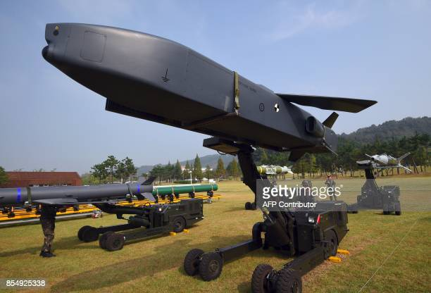 This picture taken on September 25 2017 shows a Taurus longrange airtosurface missile during a media day presentation of a commemoration event...