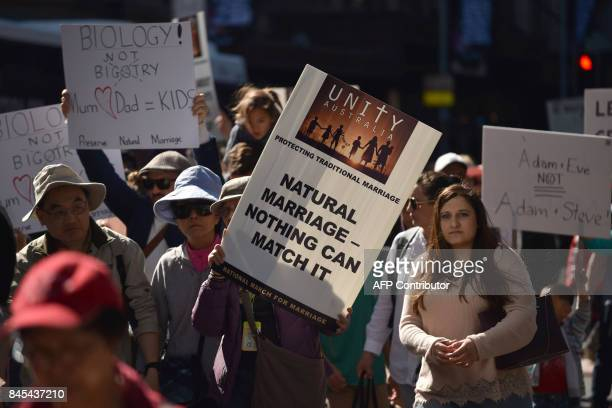 This picture taken on September 3 2017 shows protesters taking part in an anti samesex marriage rally in Sydney As Australia prepares for a...