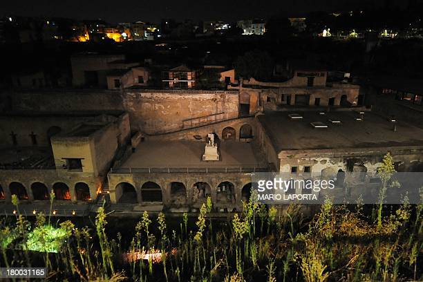 This picture taken on September 7 2013 shows the harbour of ancient Herculaneum the city destroyed by the Mount Vesuvius volcano's eruption in 79 bc...