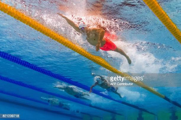 This picture taken with an underwater camera shows China's Sun Yang competing in the men's 400m freestyle final during the swimming competition at...
