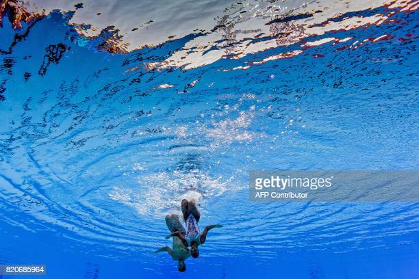 TOPSHOT This picture taken with an underwater camera shows Italy's Giorgio Minisini and Italy's Mariangela Perrupato competing in the Mixed duet Free...