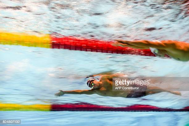 TOPSHOT This picture taken with an underwater camera shows Italy's Gregorio Paltrinieri competing in the final of the men's 1500m freestyle during...