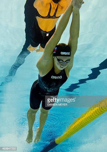 This picture taken with an underwater camera shows Russia Veronika Popova competing in the 200m freestyle women preliminary event at the 32nd LEN...