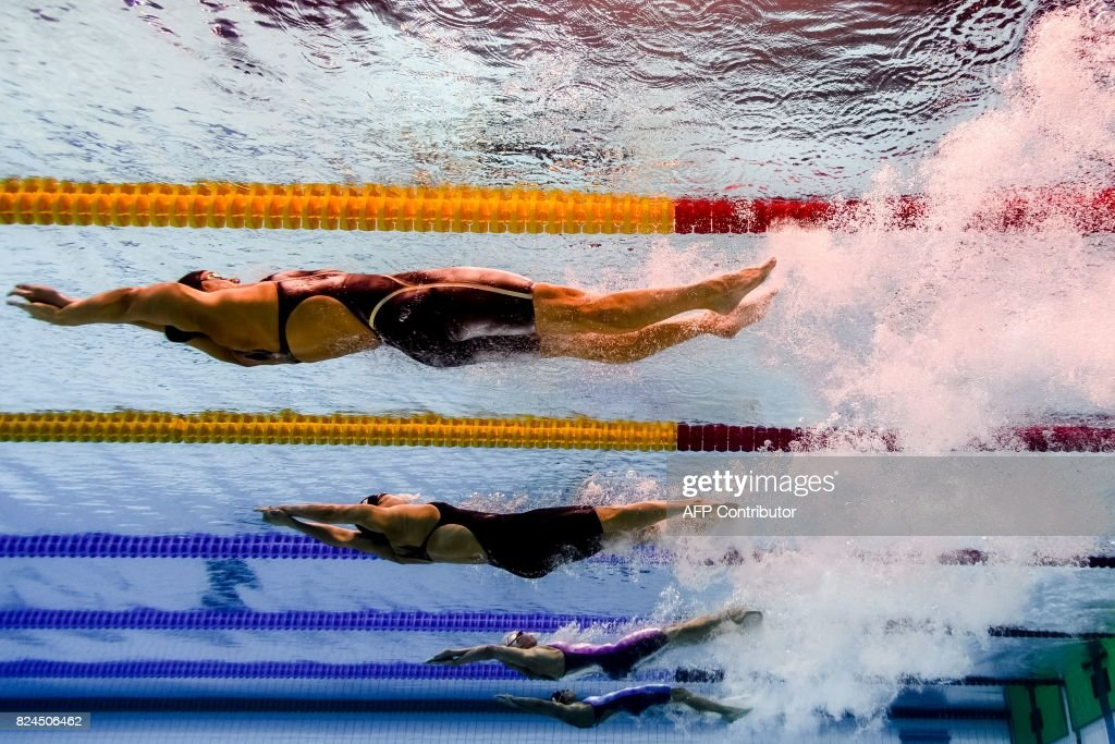 TOPSHOT - This picture taken with an underwater camera shows swimmers competing in the final of the women's 4x100m medley relay during the swimming competition at the 2017 FINA World Championships in Budapest, on July 30, 2017. / AFP PHOTO / Martin BUREAU