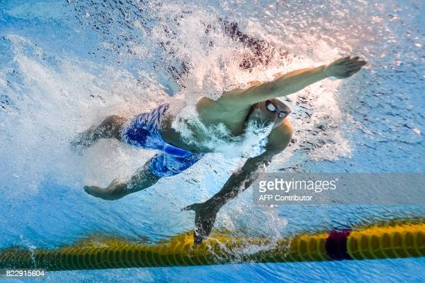 This picture taken with an underwater camera shows USA's Chase Kalisz competing in a men's 200m medley heat during the swimming competition at the...