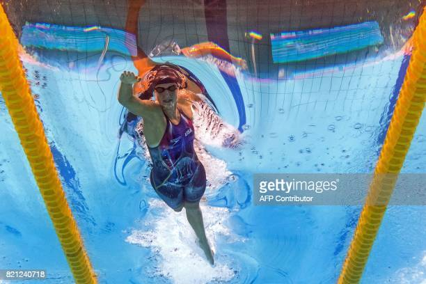 This picture taken with an underwater camera shows USA's Katie Ledecky competing in the women's 400m freestyle final during the swimming competition...