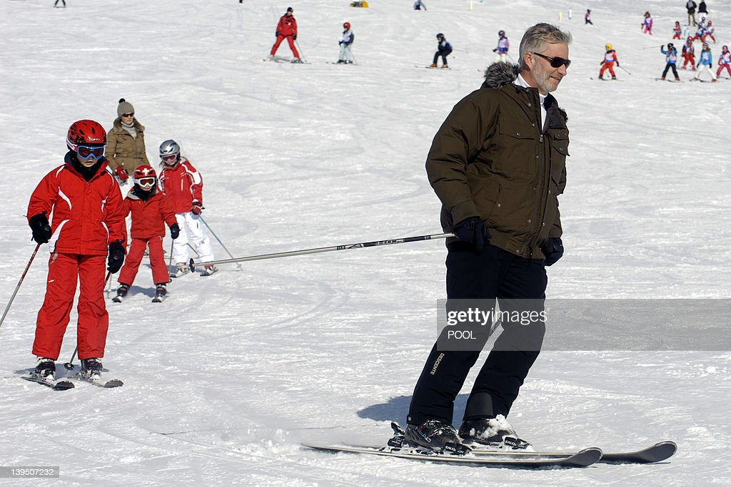 This pool picture, distributed by the Belgian Royal Palace on February 22, 2012 shows (rear to front) Princess Mathilde of Belgium, Princess Elisabeth, Prince Emmanuel, Prince Gabriel and Crown Prince Philippe of Belgium (at R) enjoying the ski holiday of Prince Philippe and his family, in Verbier, Switzerland, on February 21, 2012. Prince Philippe and Princess Mathilde and their children spend the Carnival holidays in Switzerland. Princes Elisabeth (10), Prince Gabriel (8) and Prince Emmanuel (6) are good skiers, as are their parents. Princess Eleonore (3) takes her first steps on skis. The family arrived in Verbier on Saturday 18 February, like the majority of Belgians who take to the mountains during this period. They stay with friends.