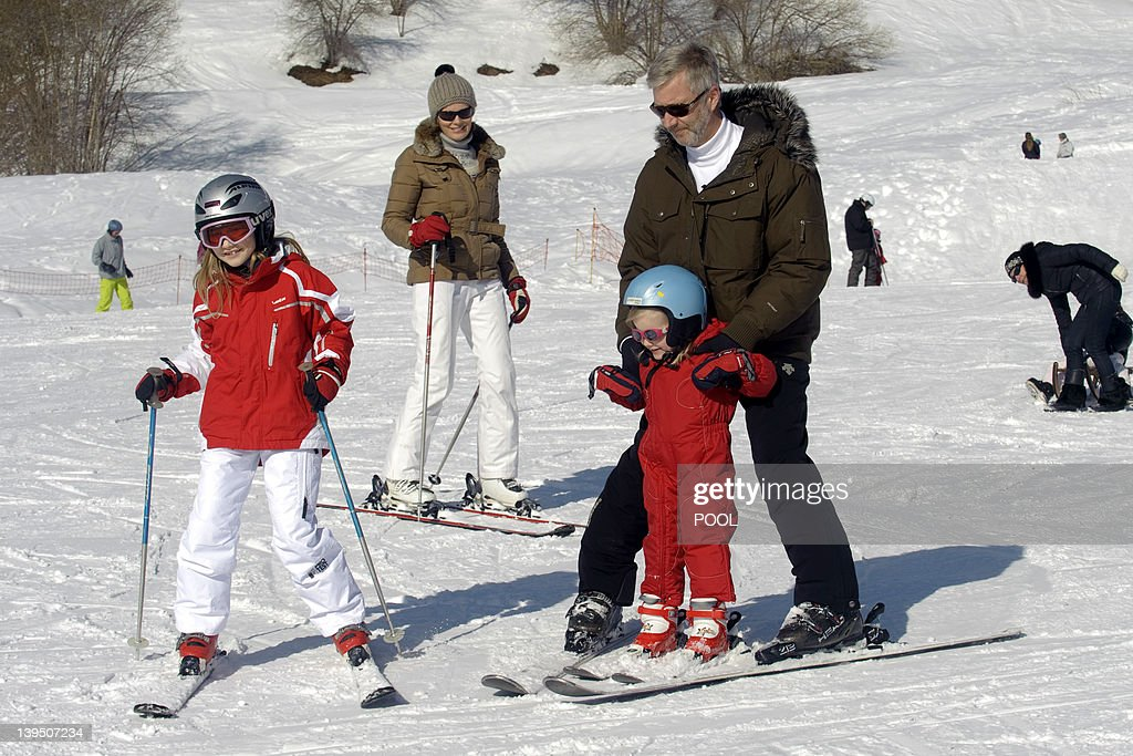 This pool picture, distributed by the Belgian Royal Palace on February 22, 2012 shows Belgium's Princess Elisabeth, Princess Mathilde, Princess Eleonore and Crown Prince Philippe, enjoying the ski holiday in Verbier, Switzerland, on February 21, 2012. Prince Philippe and Princess Mathilde and their children spend the Carnival holidays in Switzerland. Princes Elisabeth (10), Prince Gabriel (8) and Prince Emmanuel (6) are good skiers, as are their parents. Princess Eleonore (3) takes her first steps on skis. The family arrived in Verbier on Saturday 18 February, like the majority of Belgians who take to the mountains during this period. They stay with friends.